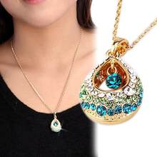 The new European and American female crystal teardrop necklace pendant gift hollow droplets(China)