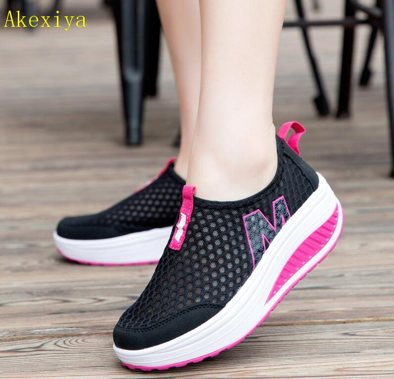 Akexiya New Women's Walking Shoes Casual Sport Fashion Height Increasing Woman Loafers Breathable Air Mesh Swing Wedges Sneakers new causal shoes women 2016 sport fashion flats height increasing platform loafers breathable air mesh swing wedge walking shoes