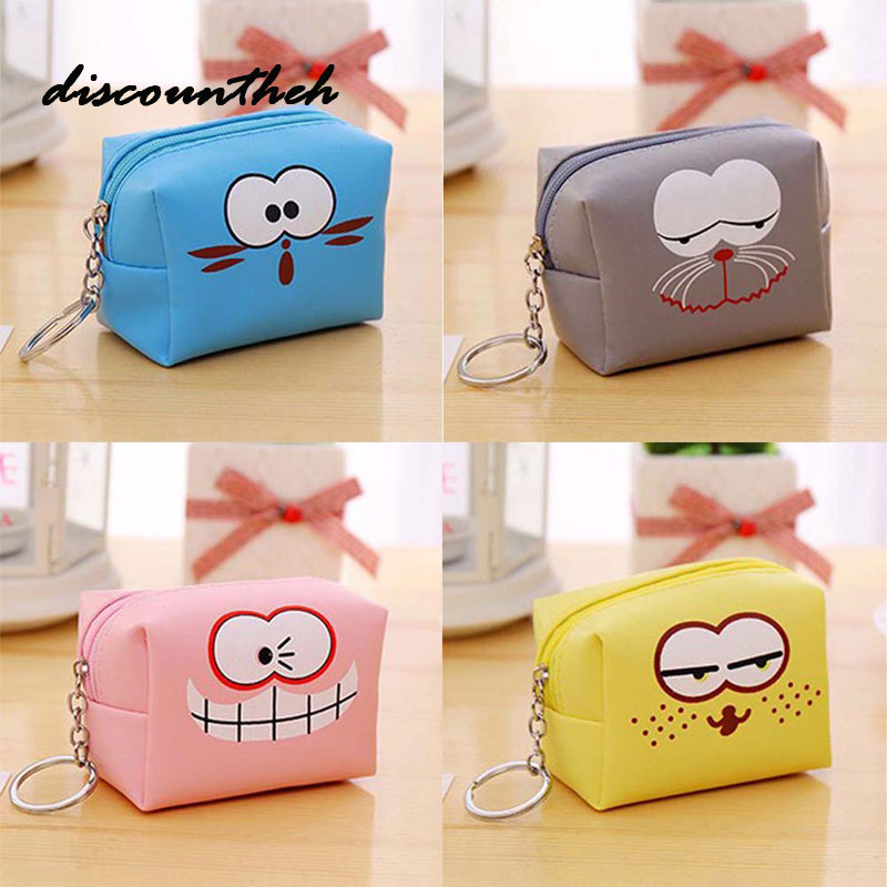 Cartoon Coin Purse For Women Girl PU Leather Wallets Zipper Key Chain Change Purses Wallet Card Holder Coin Pocket Pouch 2017creative cute cartoon coin purse key chain for girls pu leather icecream cake popcorn kids zipper change wallet card holder