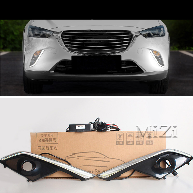 12v LED DRL Daytime Running Lights Waterproof With Fog Lamp Hole For Mazda CX 3 CX3