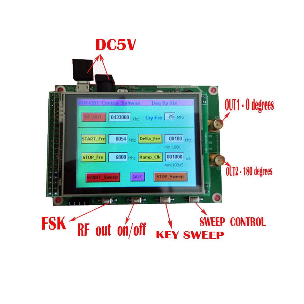 Nouveau panneau de générateur de Source de Signal de balayage ADF4351 RF 35 M-4.4G + STM32 TFT tactile LCD