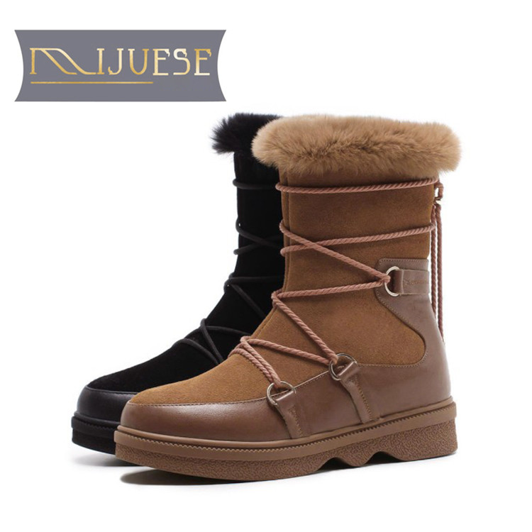 MLJUESE 2019 women Mid calf boots cow Suede Camel color lace up fur warm winter short plush women martin boots size 34-40 concise solid color and suede design women s mid calf boots