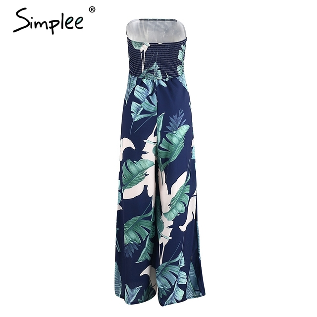 Simplee Strapless floral print long rompers womens jumpsuit Backless high waist loose overalls 2017 summer beach party playsuit