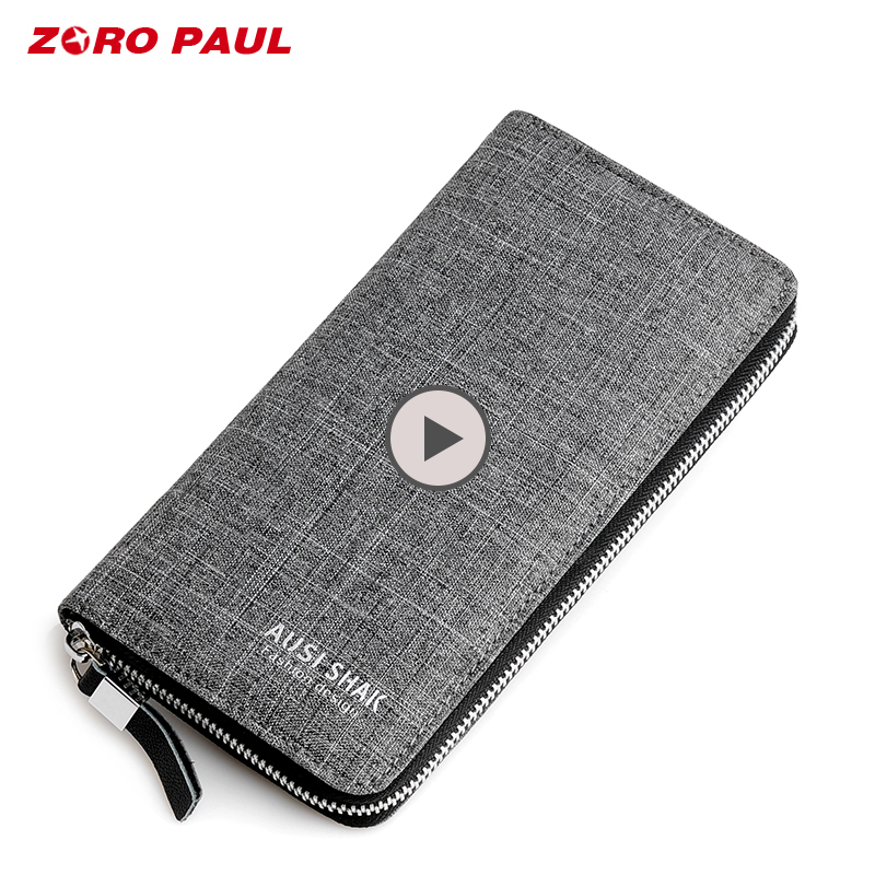ZORO PAUL Luxury Brand Mens Wallet Long Style Men Clutch Wallets Rectangle Handy Men Bag Canvas Zipper Wallet Coins Male цена 2017
