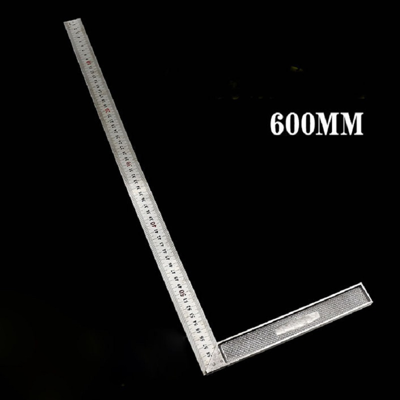 New 600mm 0 12 inches Stainless Steel Right Measuring Rule Tool Angle Square Ruler T10