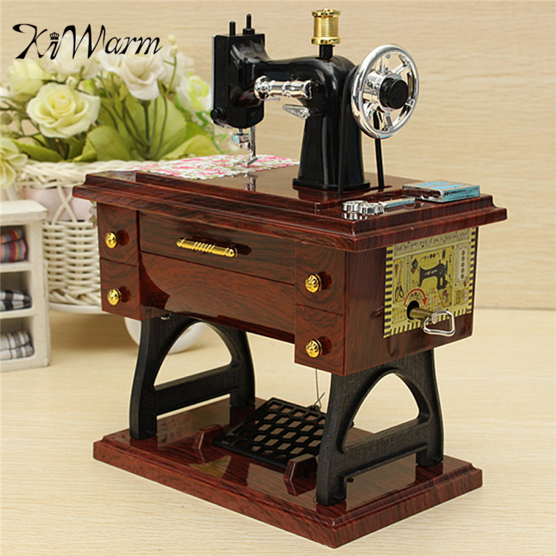 KiWarm Exquisite Vintage Mini Sewing Machine Style Mechanical <font><b>Music</b></font> Box For Birthday Gift Model Musical Toy Ornament Craft