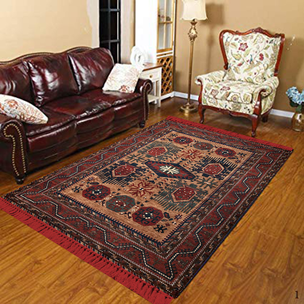 Else Red Brown Beige Ethic Ottoman Authentic Retro 3d Print Anti Slip Kilim Washable Decorative Kilim Area Rug Bohemian Carpet