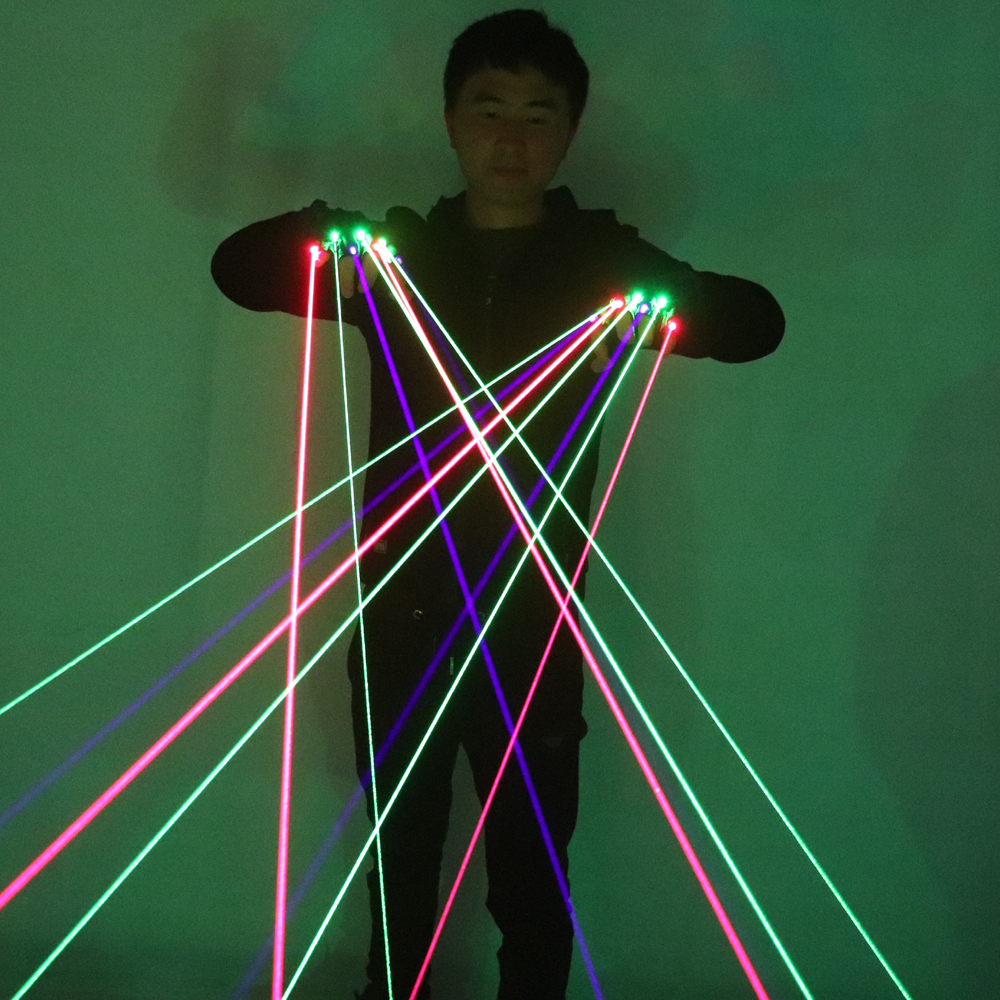 RGB LED Laser Gloves With 7pcs Laser 3pcs Green +2PCS Red +2PCS Violet Stage Gloves For LED Luminous Costumes Show