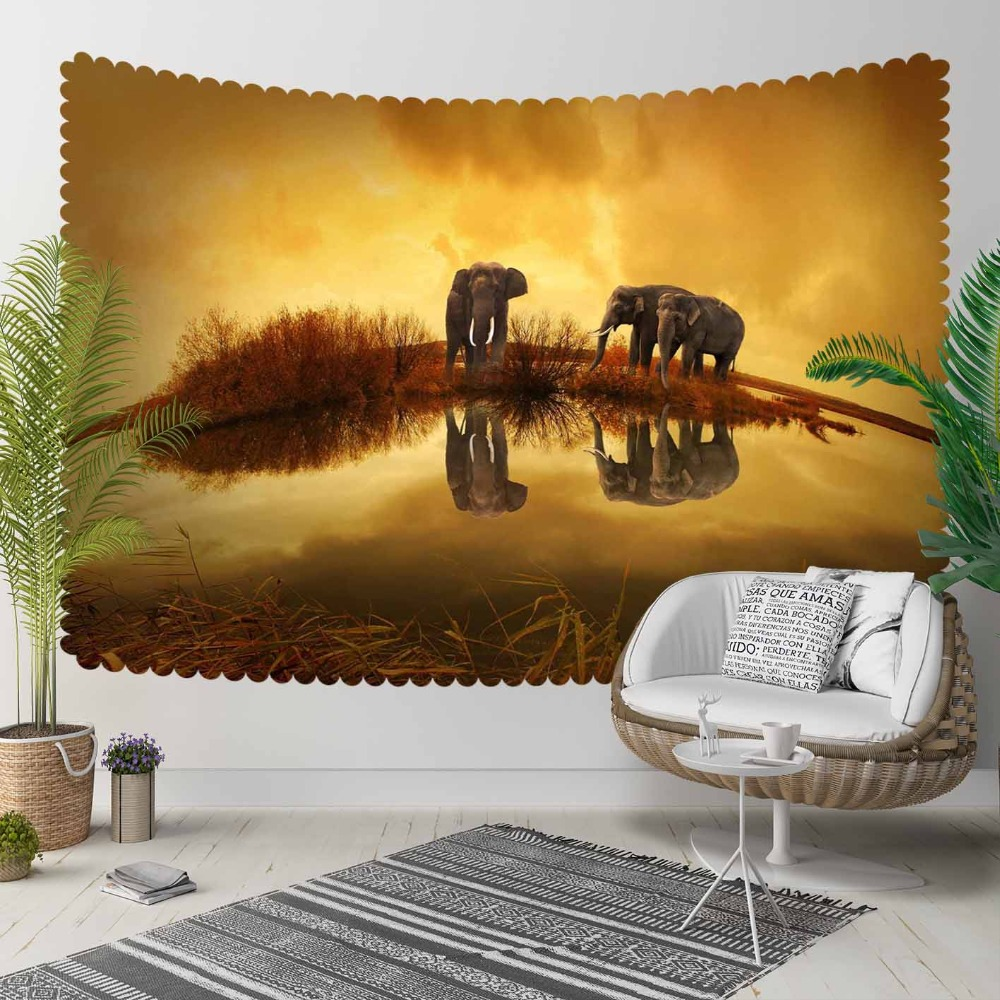 Else Yellow Brown African Sunset Elephants Animals 3D Print Decorative Hippi Bohemian Wall Hanging Landscape Tapestry Wall Art