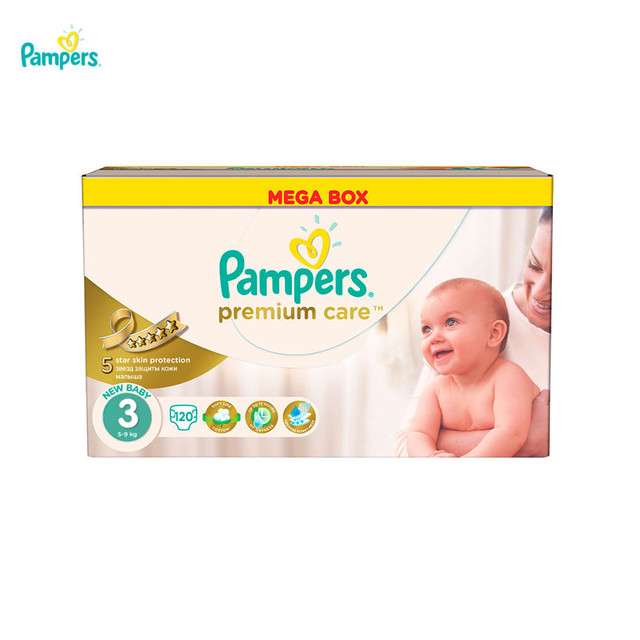 Подгузники PAMPERS Premium Care Midi 5-9 кг Мега 120