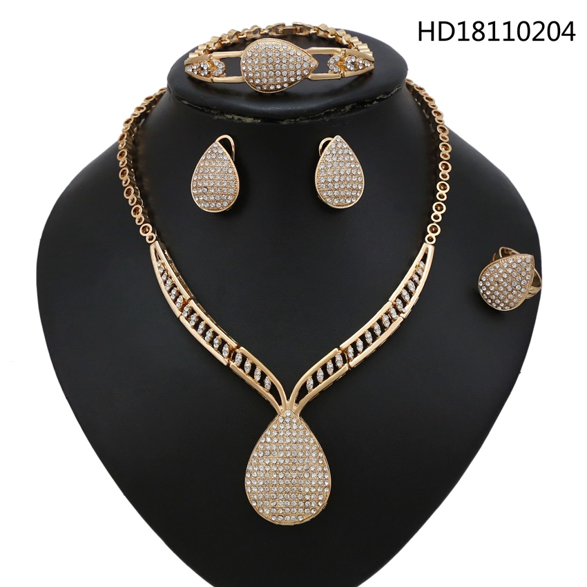 YULAILI Fashion Gold Color Jewelry Set Nigerian Wedding African Beads Earrings Necklace Ladies AccessoriesYULAILI Fashion Gold Color Jewelry Set Nigerian Wedding African Beads Earrings Necklace Ladies Accessories