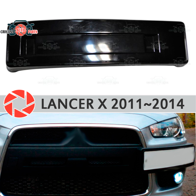 Podium of license plate frame for Mitsubishi Lancer X FL 2011-2014 on front bumper ABS plastic body kit decoration car styling fit for honda vfr1200f 2010 2011 2012 2013 injection abs plastic motorcycle fairing kit bodywork vfr 1200f 10 13 free shipping06