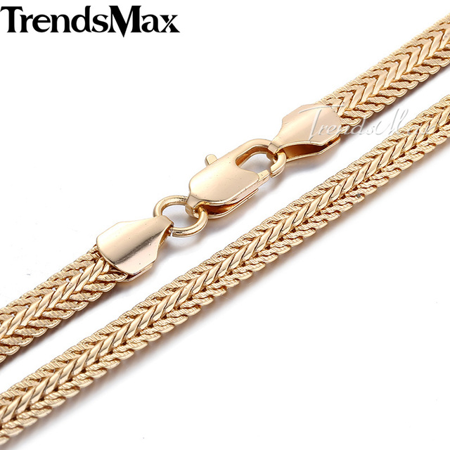 6MM Rose Yellow White Gold Filled Necklace MENS Chain Womens Necklace Snake Chain Fashion Jewelry GNM29