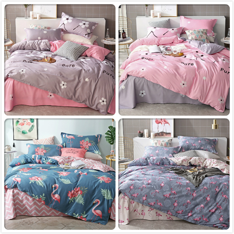 Flamingo Pattern 3pcs Duvet Cover Sets Single Queen King Size Soft Cotton Kids Child Bed Linen Quilt Pillow Case 150x200 180x220Flamingo Pattern 3pcs Duvet Cover Sets Single Queen King Size Soft Cotton Kids Child Bed Linen Quilt Pillow Case 150x200 180x220