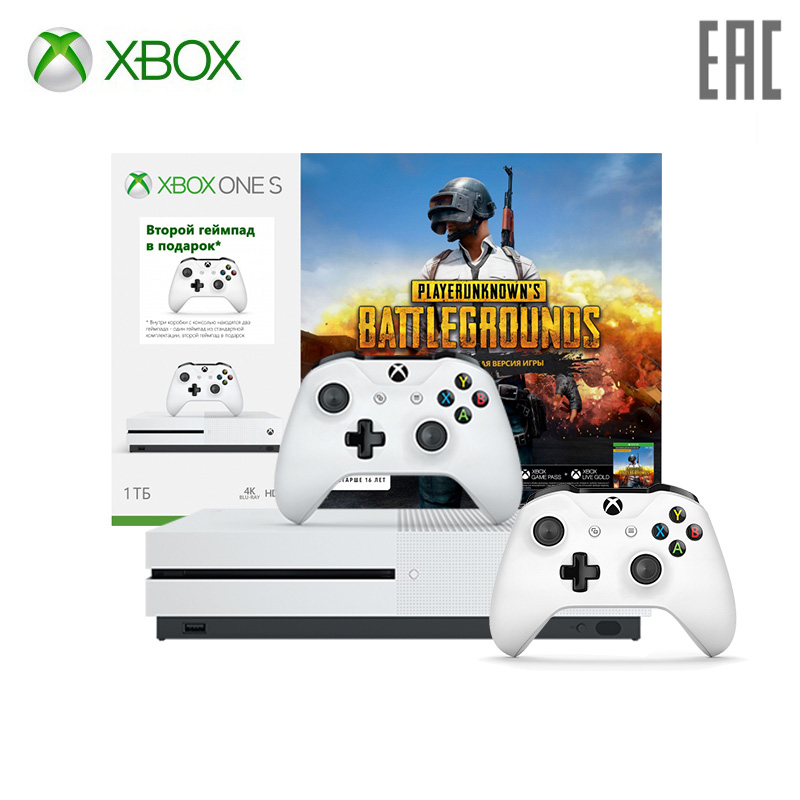 Xbox One S 1 TB + code PlayerUnknown + XboxLiveGold 1m. + Game Pass 1m + gamepad (kit) vertical stand for xbox one s black