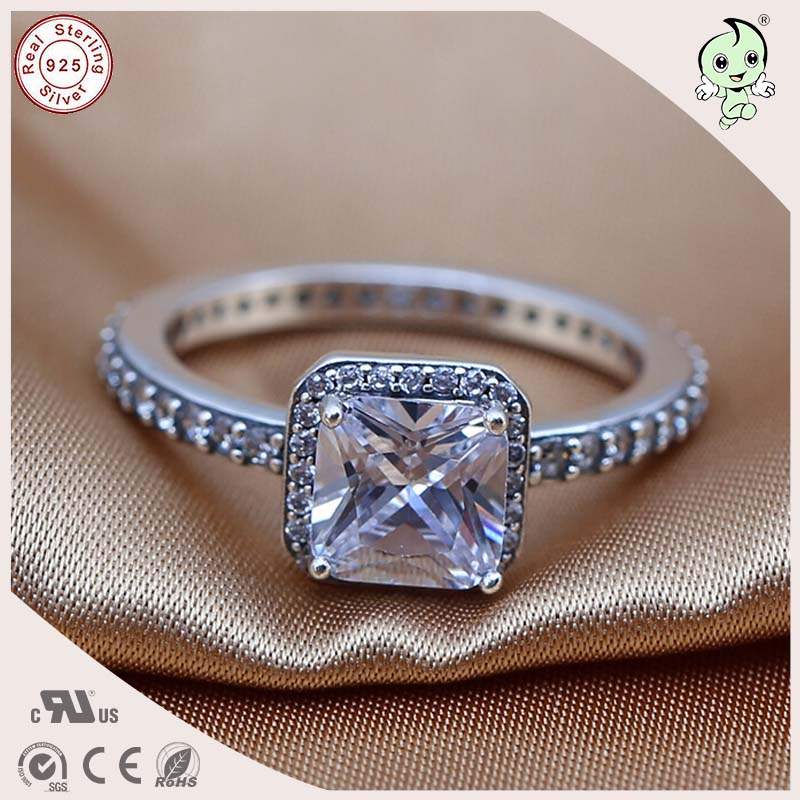 P&R products New Arrival High Quality CZ Paving Square Stone 100% 925 Sterling Silver Square Stone Finger Ring for women