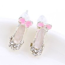 Womens Girls Fashion Jewelry 1pair Lovely Delicate Rhinestone Bowknot Ballet Shoes Ear Stud Earrings