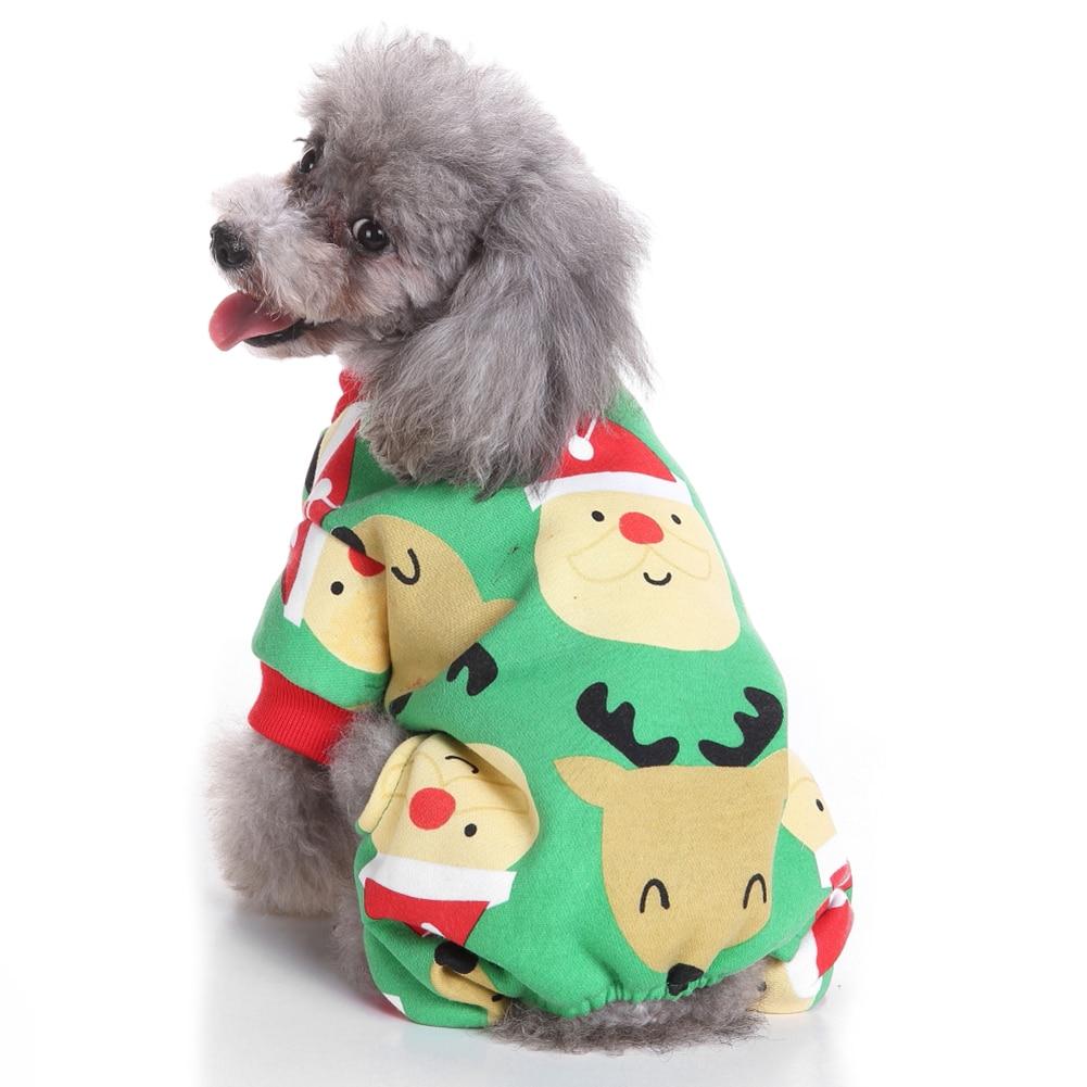 TINGHAO Cute Santa Claus Reindeer Pet Clothes Christmas Dog Pajamas Apparel