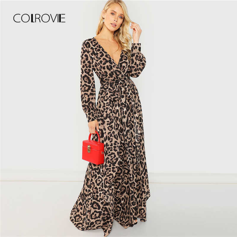 ebe19b0743fc6 COLROVIE Knot Belted Deep V Neck Leopard Print Sexy Dress Women 2018 Autumn  Long Sleeve Party Dress Girl Elegant Maxi Dresses