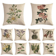 A flower pattern Cushion Covers  Flower Cover Decorative Beige Linen Pillow Case