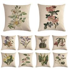 A flower pattern Cushion Covers  Flower Cushion Cover Decorative Beige Linen Pillow Case цена и фото