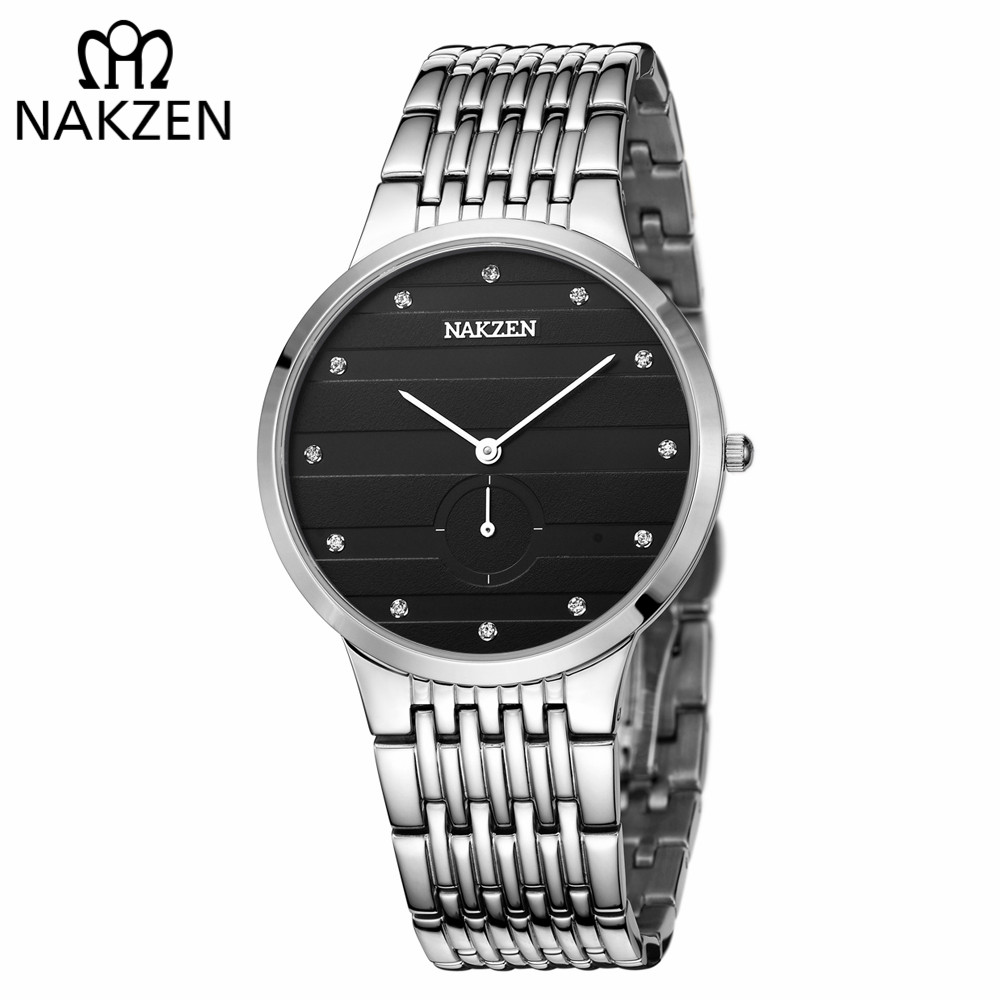 NAKZEN Diamond Men Watch Luxury Brand Sapphire Watches Mens Stainless Steel Black Gold Wristwatch Male Clock