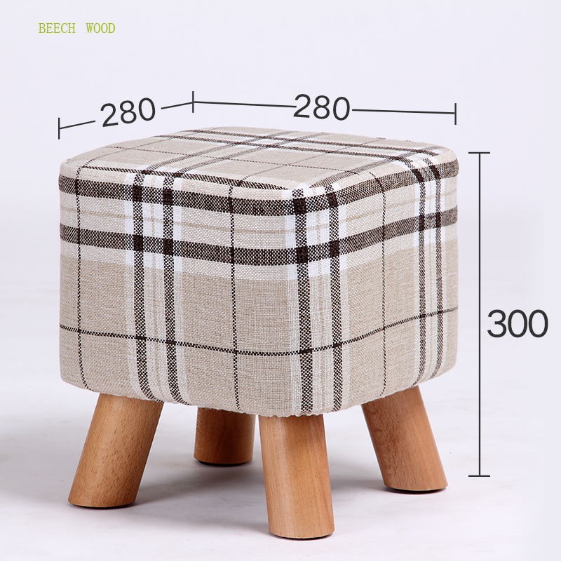 7 Colors Modern Sofa Footstool Living Room Small Square Stool Beech Wood Leg With Detachable Linen Fabric Cover fashion modern creative home footstool small chair soft natural lining shoes stool solid wood support living room bedroom stool