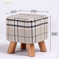 7 Colors Modern Sofa Footstool Living Room Small Square Stool Beech Wood Leg With Detachable Linen