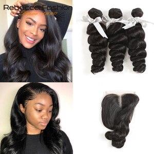 Rebecca Loose Wave Bundles With Closure Non Remy Human Hair 3 Bundles With Closure Malaysian Human Hair Bundles With Closure