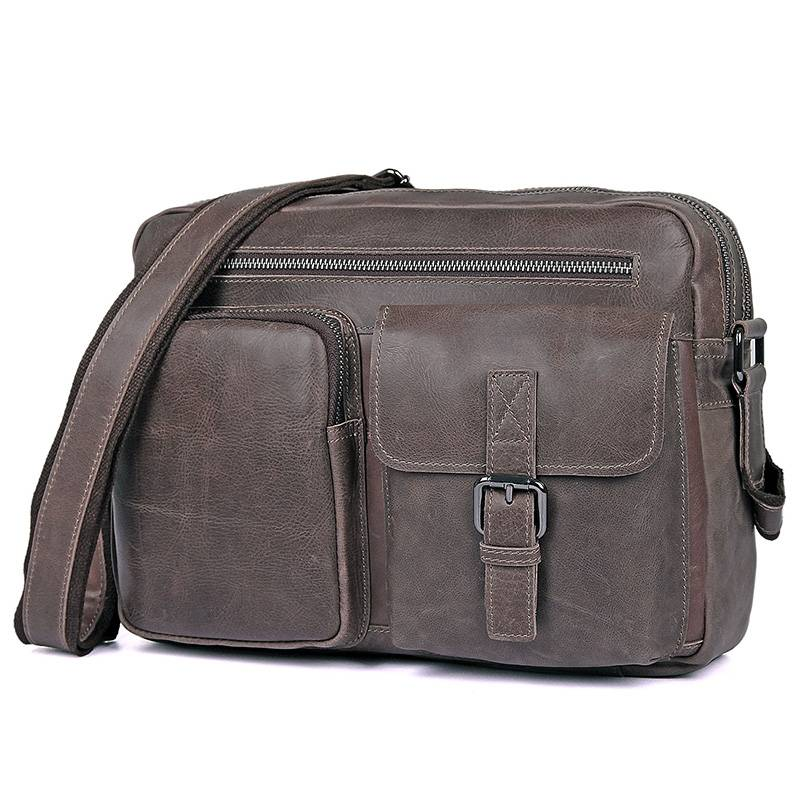Messenger Bags Grey Cow Leather Men 2018 Male Brand Designer Weekend Travel Shoulder Crossbody Business Ipad Casual Bag