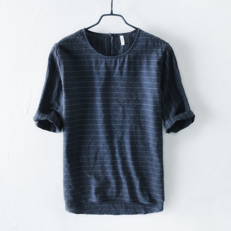 Summer flax short sleeve T-shirt young men round collar loose Japanese vintage stripe beach cotton and linen material half sleev multicolor stripe short sleeve loose t shirt