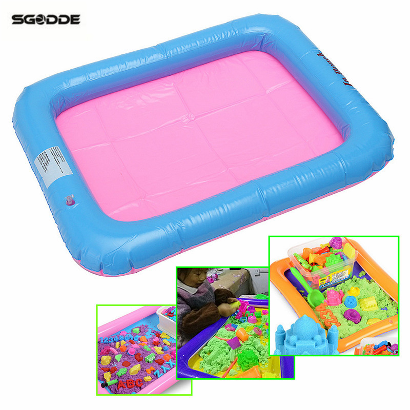 Children Kids Inflatable Sand Tray Plastic Mobile Table Pool Party Game  Playing Sand Clay Color Pool