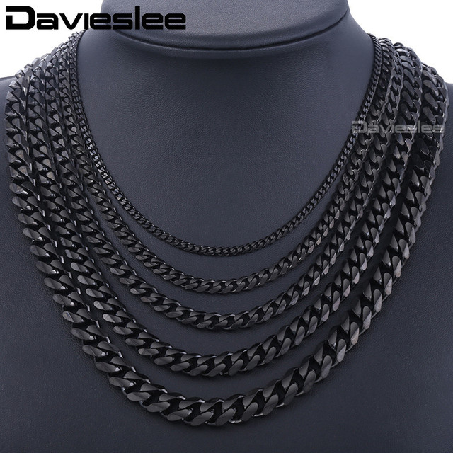 a97854ae302 Stainless Steel Chains Necklace for Men Black Silver Gold Mens Necklace  Curb Cuban Davieslee Jewelry Gifts 3/5/7/9/11mm DLKNM09