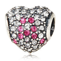 Breast Cancer Heart With Paved Clear Crystal Pink Ribbon 925 Sterling Silver Charm Bead Fit European