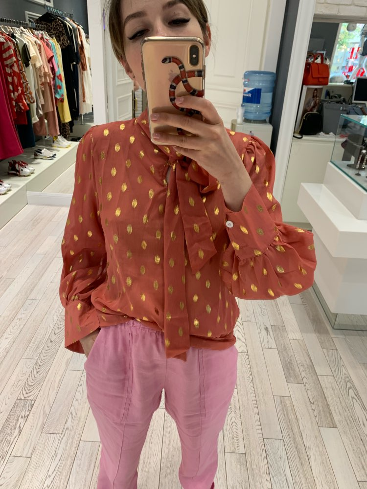 Vintage Bow Collar Full Sleeve Women Blouse Shirts See Through Polka Dot Loose Female Blouses Tops Spring Shirts Blusas photo review