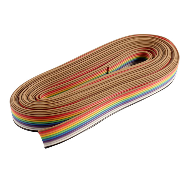 eafa3667292e UXCELL 20Ft 6M Long 10 Way 10 Pin Rainbow Color Flat Ribbon Cable Idc Wire  1.27Mm Pitch Diy