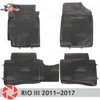 Tapis de sol pour Kia Rio 3 2011 ~ 2017 tapis antidérapants en polyuréthane protection contre la saleté accessoires de style de voiture intérieure