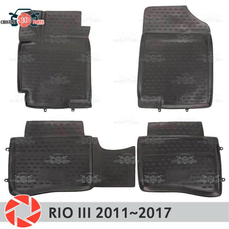 Alfombras de piso para Kia Rio 3 2011 ~ 2017 alfombras antideslizantes de poliuretano tierra protección interior estilo de coche accesorios