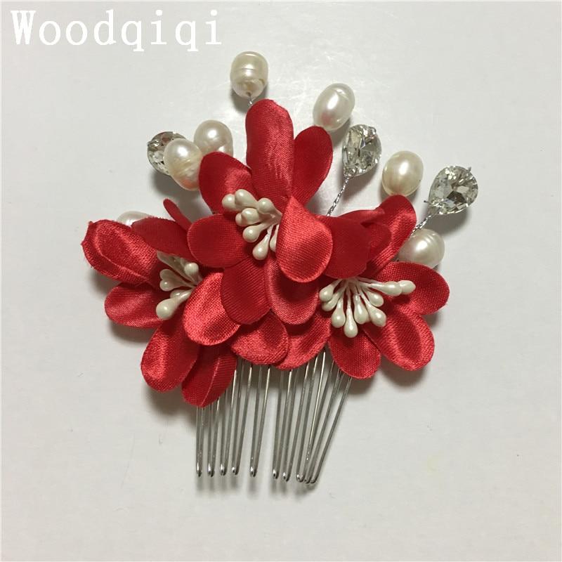 Woodqiqi coiffure mariee mariage cheveux accesoires bridal comb crystal hair accessories corona couronne de fleur chinese hair