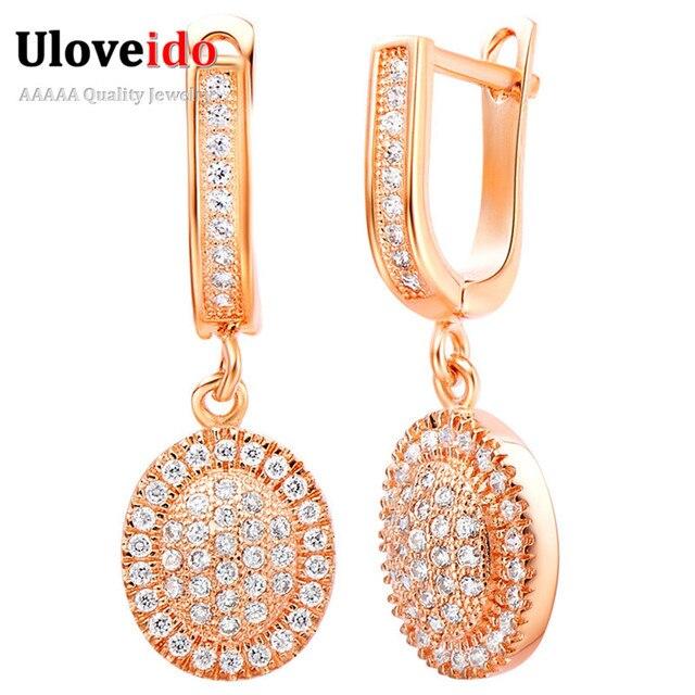 f05bd84943d5 Vintage Rose Gold Drop Earrings for Women Brincos Zirconia Grande Longos  Pendientes Largos Dangle Earrings Ornamentation R250