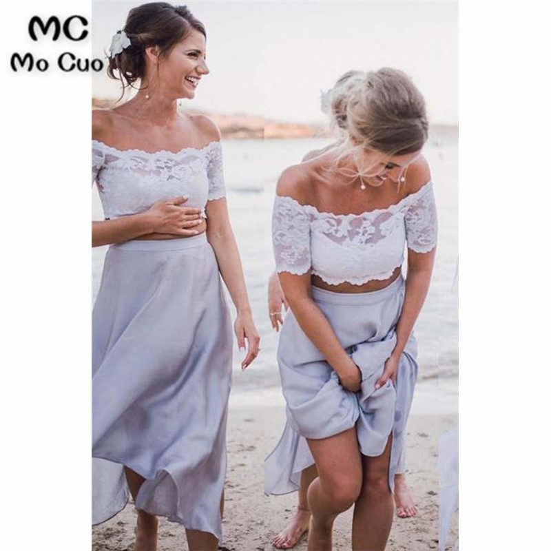 2019 New   Bridesmaid     Dress   Long Lace Off shoulder Wedding Guest   Dress   Two Pieces Gown Chiffon   Bridesmaid     Dresses