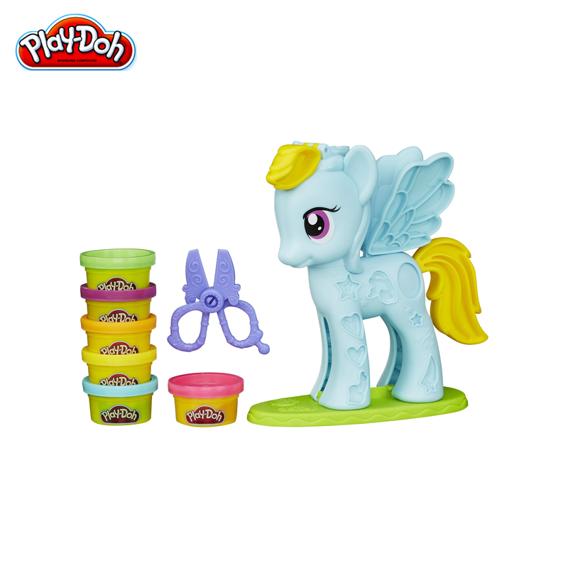 Modeling clay for girls Hasbro PLAY-DOH playing set rainbow dash styling salon B0011