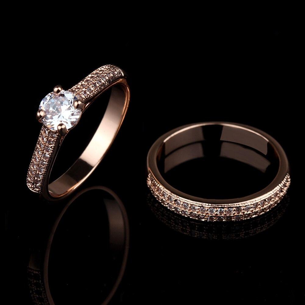 2 Teile/satz Kristall Schmuck Verlobungsring Für Männer Frauen Hochzeit Zubehör Paar Ringe