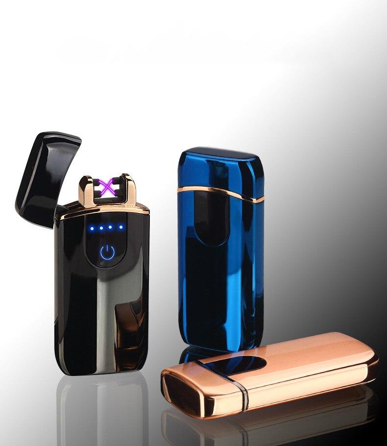 Doppio Arco Usb più leggero Al Plasma Più Leggero Laser Libero Logo Sigaretta Elettronica Accendino Accendino