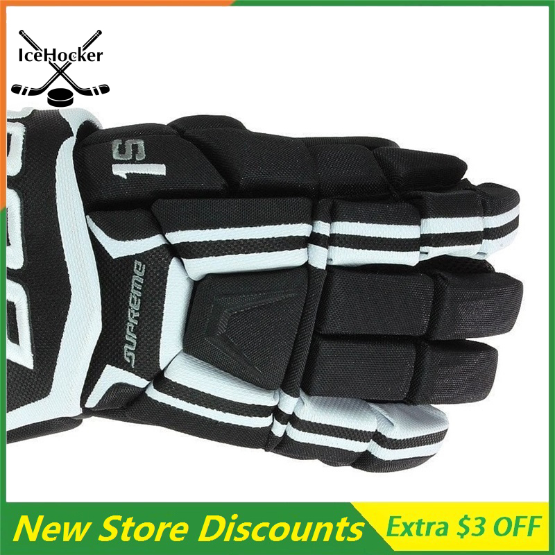 Classic Color Style Ice Hockey Gloves S1 Black/White 13 for adult Free ShippingClassic Color Style Ice Hockey Gloves S1 Black/White 13 for adult Free Shipping