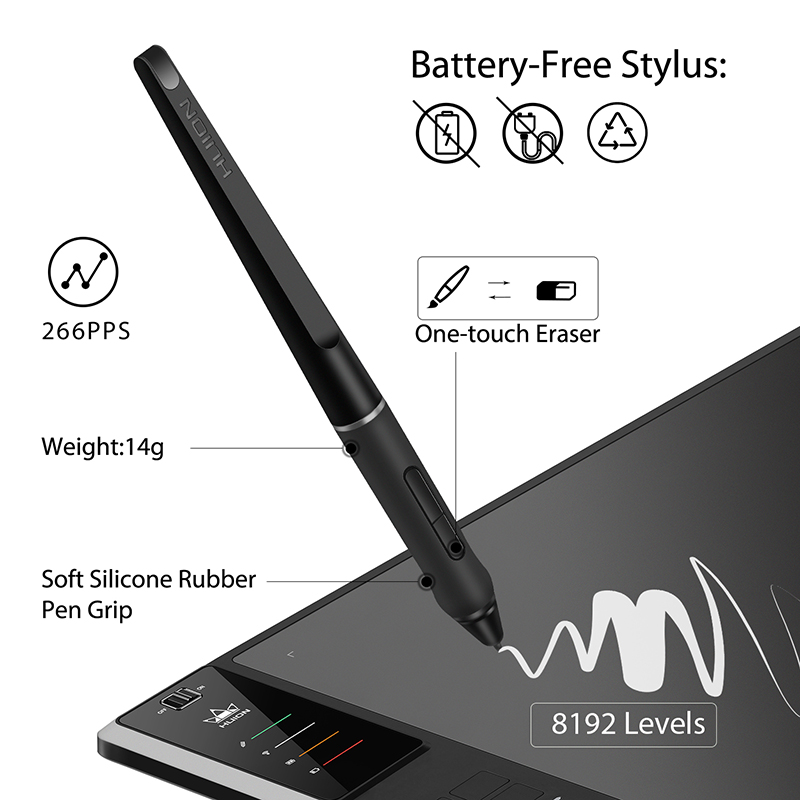 Image 3 - HUION Giano WH1409 V2 Wireless Graphic Drawing Tablet Digital Pen Tablet Tilt Function Battery free Stylus with 8192 LevelsDigital Tablets   -