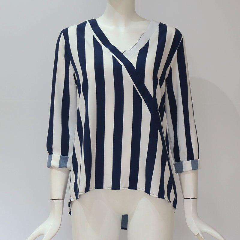 Women Striped Blouse Shirt Long Sleeve Blouse V neck Shirts Casual Tops Blouse et Chemisier Femme