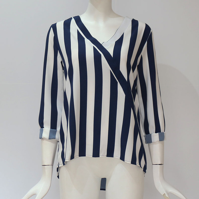 Women Striped Blouse Shirt Long Sleeve Blouse V-neck Shirts Casual Tops Blouse 40