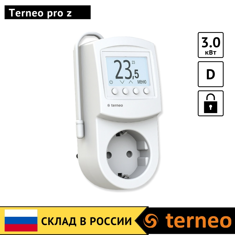 Terneo Pro Z - Electronic Thermostat In The Socket Plug With Digital Control For Infrared Heaters And Convectors With Air Sensor