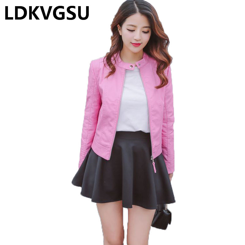 2018 Autumn Winter New Female Short Pu   Leather   Coat Stand Collar Fashion Women's Locomotive   Leather   Jacket Pink Black Is665
